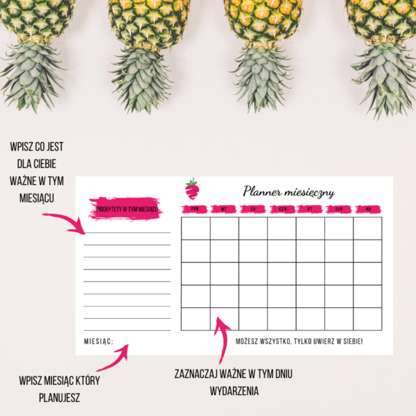 planner miesiąca do druku